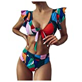 Aniywn Women's High Waisted Swimsuit Ruffle V-Neck Cutout Tummy Control Bikinis Two Piece Print Bathing Suit Swimwear