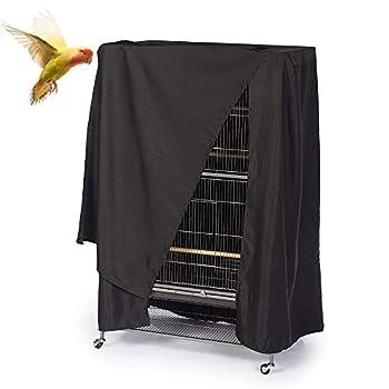 ASOCEA Housse de protection universelle pour cage à oiseaux, perruches, aras, conures, carrées, noir - Taille XL
