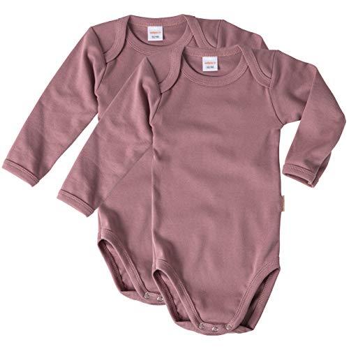 wellyou Body de manga larga para bebé y niño, 100 % algodón, manga larga, 2 unidades, tallas 92-134 Rosa envejecida. 104/110 cm