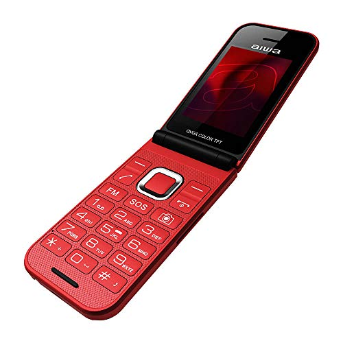 Aiwa FP-24RD ROT Großtasten Bluetooth Seniorenhandy, Klapphandy, Dual-SIM, Farbdisplay, SOS, Notruf, 32MB ROM, 32MB RAM, GPRS, GSM