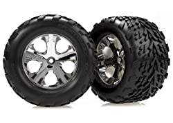professional Traxxas 3668 Talon tires, glued all-star 2.8 inch chrome wheels, electric rear (pair)