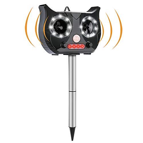 Welltop Katzenschreck Ultraschall Solar, Wetterfest Utraschall Abwehr mit eingebauter Lithiumbatterie und Blitzlicht 5 Modus Einstellbar Tiervertreiber für katzenschreck, Hunde, Schädlinge