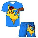 Aatensou Conjunto de camiseta y pantalones cortos 3D Pi-ka-chu para niños de dos piezas, traje de baño para verano (estilo 1,110)
