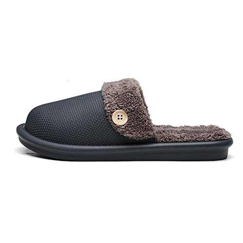 Zapatillas De Algodón,Pantofole Di Cotone,Pantoufles En Coton,Rayé Soft Bottom Home Black Slippers Cotton Warm Shoes Hommes Chaussures Intérieures De Plancher Chaussures Non-Slips Pour Chambre Mai