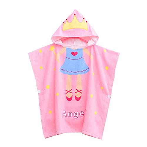 AOIWE Toalla de baño con capucha para niños, toalla de baño de bebé, toallas para niños con broche, albornoz para niño después del baño, toalla de playa o baño (color: princesa, tamaño: S 26 años)