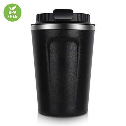 NUOSEM Edelstahl Kaffeebecher mit Deckel und Griff,330ML vakuumisolierter Kaffeetasse mit Kaffeelöffel, Isolierung und Kältekonservierung,Büro-Cup
