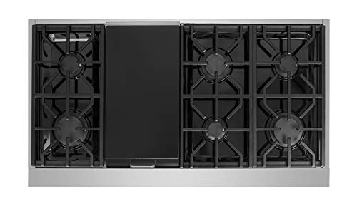 "NXR SCT4811 48"" Pro-Style Natural Gas Cooktop, Stainless Steel 4 6 German single-stack burner Featuring high power 18, 000 BTU burners for larger cookware. Simmer delicate sauces with low power 6, 000 BTU and everything in between 3 x heavy-duty flat cast-iron cooking grates to ease movement of large pots without having to lift them"