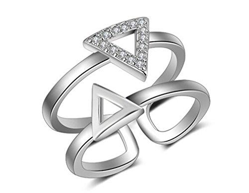 Boowhol - Anillo para mujer o niña, plata 925, fantasía doble triángulo con diamante prometido, anillo de la cola del índice ajustable (plata)