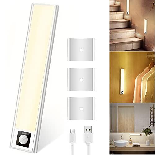 Sensor de luz LED con detector de movimiento, luz de armario con imán, 31 LED, luz de armario 3000 K, blanco cálido, ultrafina, con conector USB para mostrador, pasillo, escalera, garaje