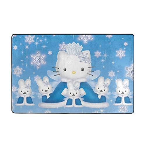 JJKKFG-H Hello Kitty - Alfombra para dormitorio, camping, suave, antideslizante, para niños, sala de estar, guardería, decoración del hogar, 60 x 39 pulgadas