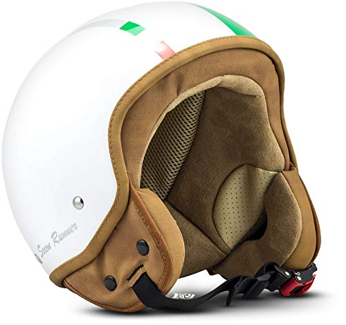 "SOXON® SP-301 ""Italy"" · Jet-Helm · Motorrad-Helm Roller-Helm Scooter-Helm Moped Mofa-Helm Chopper Retro Vespa Vintage Pilot Biker Helmet Brille Visier · ECE 22.05 Schnellverschluss Tasche S (55-56cm)"