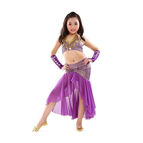 Danza Egipcia Traje Traje Danza Vientre para Niños Top + Falda 2 Piezas Traje Danza del Vientre Hecho Mano Alta Calidad Traje Ropa Competencia Niña...