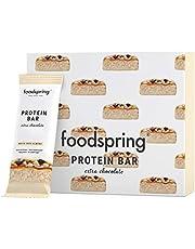 foodspring Barretta Proteica Extra Cioccolato, Cioccolato Bianco e Mandorle, 12x65g, Il perfetto snack ad alto contenuto proteico con vero cioccolato e meno zucchero