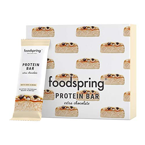 foodspring Barritas De Proteína Extra Choco, Chocolate Blanco y Almendras, 12 x 65g, una auténtica chocolatina con 95% menos de azúcares