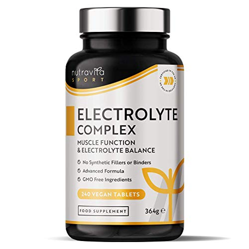 Electrolyte Complex - High Strength Tablets with Added Magnesium, Potassium & Calcium - Muscle Function and Electrolyte Balance - 240 Vegan Tablets - No Synthetic Binders - Made in The UK by Nutravita