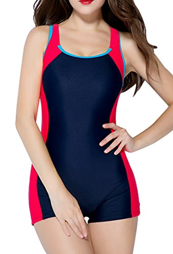 BeautyIns Womens One Piece Swimsuit Boyleg Swimwear Sports Boy short Swimming Costume, Size 10, Red(fulfilled by Amazon)