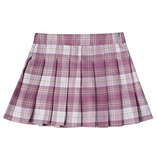inlzdz Falda Plisada de Uniforme Escolar Niñas Falda Corta de Cuadros Niña Skirt Schoolwear Falda Danza Rosa 11-12 años