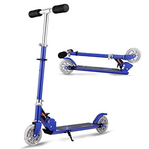 AMDirect Patinete Plegable con Manillar Ajustable en Altura Patín Scooter con 2 Ruedas Led, Azul