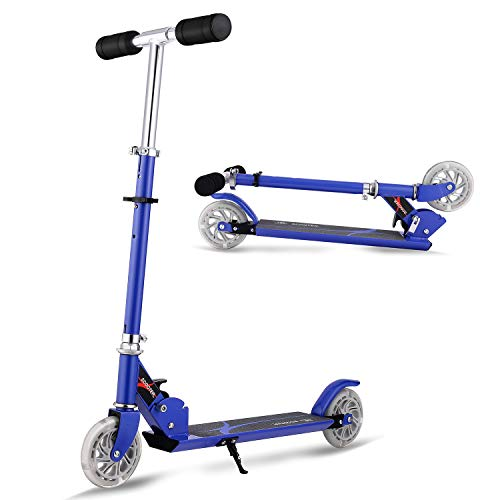 baratos y buenos Rodillo de patinaje de manillar ajustable en altura con rodillo plegable AMDirect, 2 ruedas LED, azul calidad