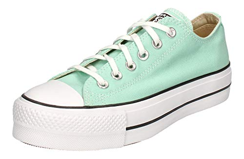 Converse Women's Seasonal Colour Platform Chuck Taylor All Star Low Top Ocean Mint/White/Black Womens 8