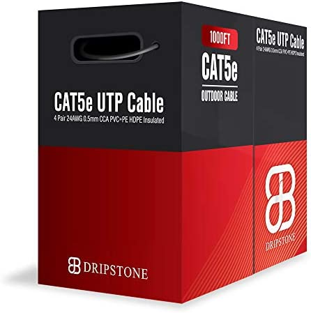 Dripstone DS617 1000ft CAT5e Outdoor 350Mhz Direct Burial Solid Cable 24AWG Waterproof Wire product image