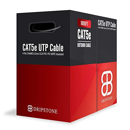 Dripstone - DS617 1000ft CAT5e Outdoor 350Mhz Direct Burial Solid Cable 24AWG Waterproof Wire HDPE Insulated Polyethylene (PE) for Indoor/Outdoor Easy Pull Box on Plastic Reel