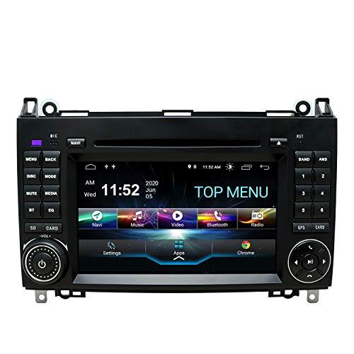 SWTNVIN Android 10.0 Autoradio Headunit passend für Mercedes Benz B200 A B V Class Viano Vito Sprinter VW Crafter VW LT3 DVD Player Radio 7 Zoll HD Touchscreen GPS Navigation mit Bluetooth 2GB+80GB