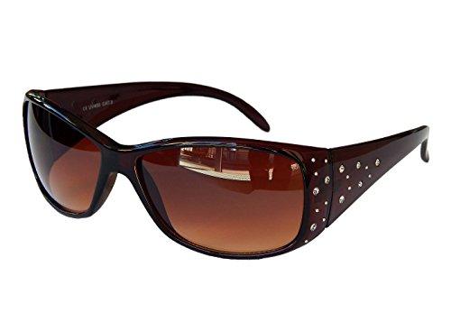 Gil SSC Damenbrille Brille Sonnenbrille mit Strass Damen Sunglasses M 39 (Braun)