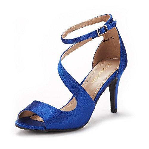 DREAM PAIRS NILE Damen Sandalen mit Mode Stilettos Offene Zehen Ferse Königsblau 39.5 EU/ 8.5 US