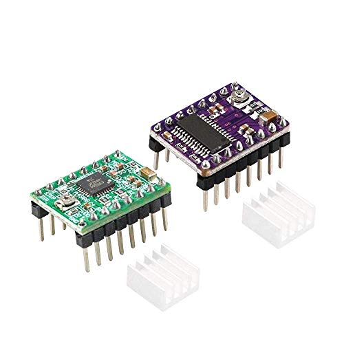 1Pc 3D Printer StepStick DRV8825 A4988 Stepper Motor Driver For Ramps 1.4 Reprap 4 PCB Module With Heat Sink 3D Printer Parts (Size : DRV8825) (Size : DRV8825)