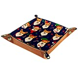 XiangHeFu Bandeja de Cuero Perro Encantador con Sombrero de Navidad Almacenamiento Bandeja Organizador Bandeja de Almacenamiento Multifunción de Piel para Relojes,Llaves,Teléfono,Monedas