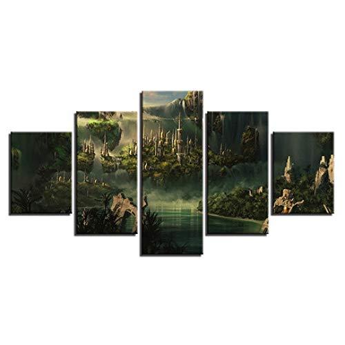 YyiHan Cuadro Moderno en Lienzo, El señor del Anillo 5 Paneles Arte de la Pared Pintura fotográfica Oficina en el hogar Sala de Estar Dormitorio decoración de la Pared Pintura sin Marco