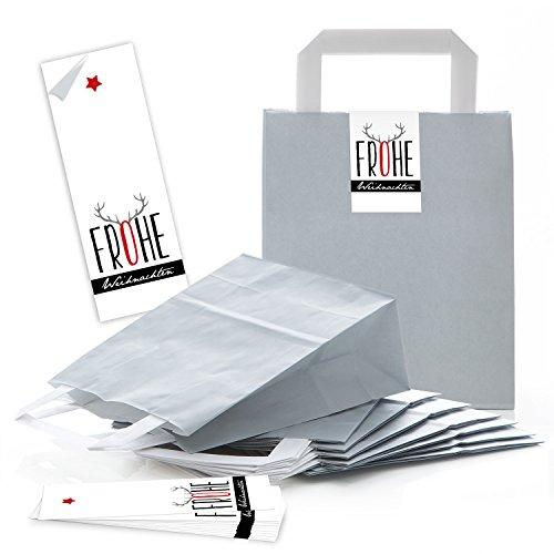 25 graue Papiertüten Geschenk-tüten Weihnachtstüten 18 x 8 x 22 cm kleine Papiertaschen + Weihnachts-Aufkleber FROHE WEIHNACHTEN schwarz rot grau Rentier-Geweih Verpackung