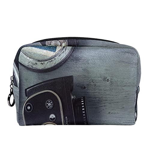 コンパクトメイクアップバッグ ポータブルトラベルコスメティックバッグトイレタリーバッグ,古い映画用カメラフィルムリールカチンコ
