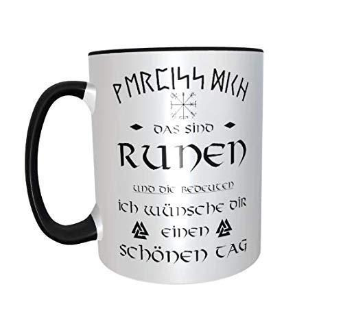 Kaffee tasse Wikinger Runen wünsche schönen Tag schwarz Runen Humor frech Viking Nordmann Heiden Heidentum Heidnisch Larp Nordmänner