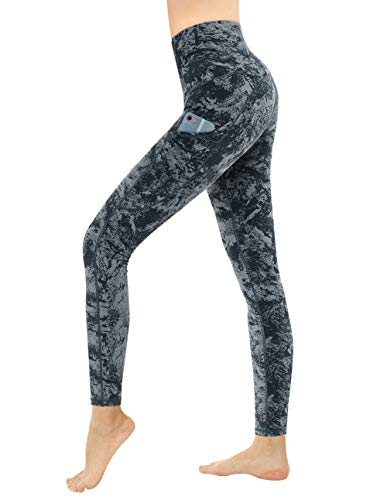 Dragon Fit High Waist Yoga Leggings with 3 Pockets,Tummy Control Workout Running 4 Way Stretch Yoga Pants (X-Large, Carbon Gray-Marble)