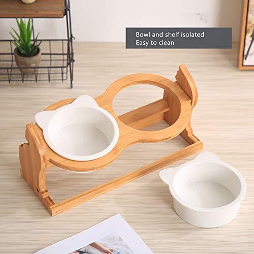 Höhenverstellbarer Futterhalter für Haustiere mit Keramikschalen Halsschonende Futterschalen Futter Wasserschale für Katzen Hunde Haustierbedarf,B