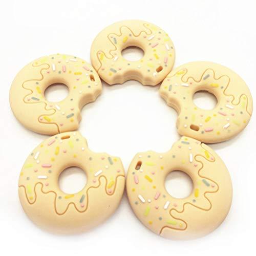 NUOBESTY Beignet créatif en Forme broie Jouets Jouets à mâcher Doux Jouet de Dentition Adorable pour Enfants bébé (Kaki)