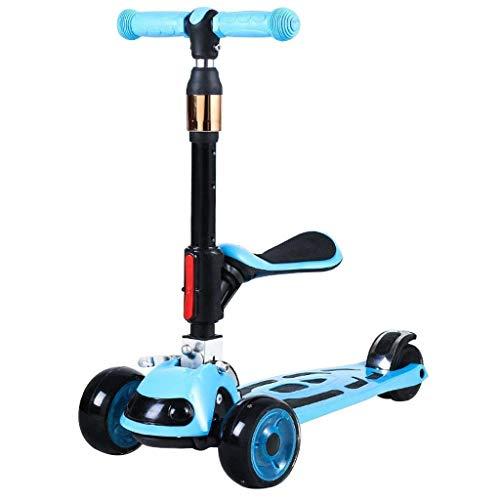 SZNWJ Ygqtbc Vespa Vespa -Kick for los niños de 3 Ruedas Scooter for los niños y niñas Niños, 4 de Altura Ajustable, Lean for dirigir la luz hacia Arriba Ruedas (Color : Blue)