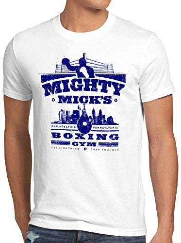 style3 Mick's Boxing Rocky Herren T-Shirt Balboa Mighty Mick Gym, Größe:L, Farbe:Weiß