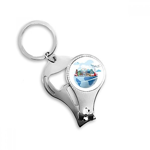DIYthinker Landmark Global Travel Journey Japan Fuji Sakura vliegtuig sleutelhanger ring teen nagel Clipper Cutter schaar gereedschap kit fles opener cadeau