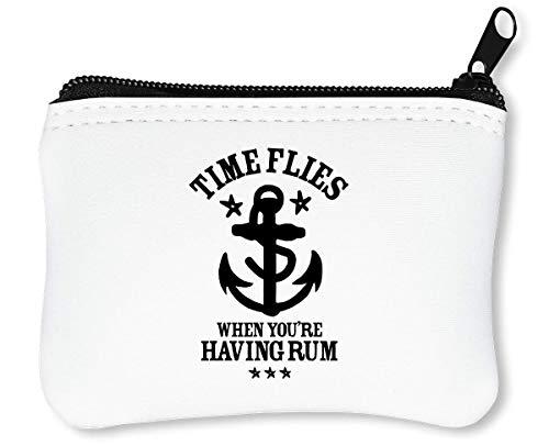 Flies When You're Having Rum Funny Drinking Reißverschluss-Geldbörse Brieftasche Geldbörse