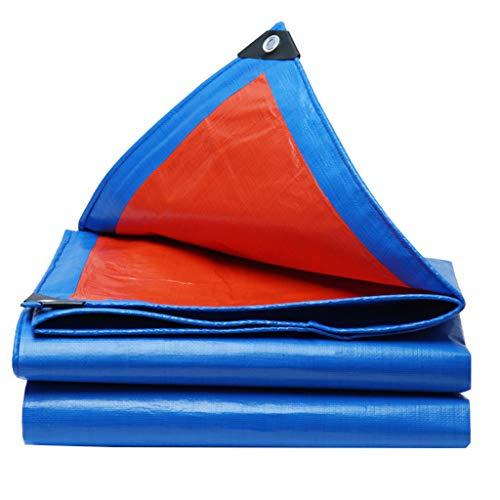 JINGKE Blue/Orange Tarpaulin, PE Waterproof Outdoor Versatile Groundsheet Cover (19 Sizes to Choose),3m x 5m