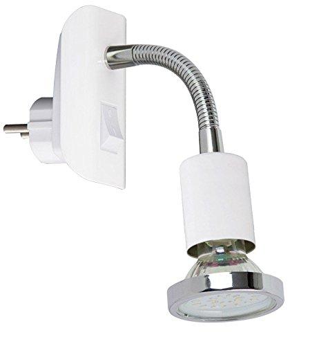 Trango LED Steckerleuchte TG11-056 Nachtlicht in weiß inkl. 1x 3000K warmweiß LED Leuchtmittel & ON/OFF Schalter Steckerlampe, Küchenlampe, Wandlampe
