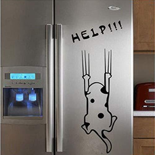 zaosan Etiqueta de la Pared Venta Lindo Gato Blanco Negro Pegatinas de Pared de Dibujos Animados decoración del hogar para refrigerador gabinete de Cocina Infantil 104x74cm