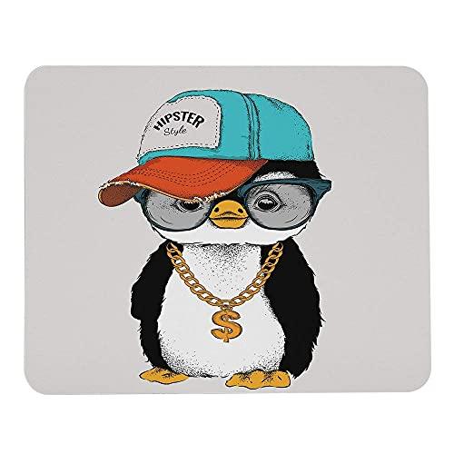 Pinguin Mauspads Porträt in Hip-Hop-Hut Sonnenbrille Halskette Hipster-Stil Mauspads Gummi große rechteckige Mausmatte für Computer Schreibtisch Laptop Büroarbeit