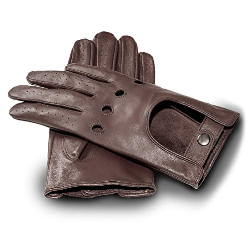 JAMES HAWK Driver Gloves | klassische Touchscreen Lederhandschuhe für Herren | elegante Autofahrerhandschuhe in Schwarz und Braun | Autohandschuhe für Männer | Premium Verpackung (Braun, L)