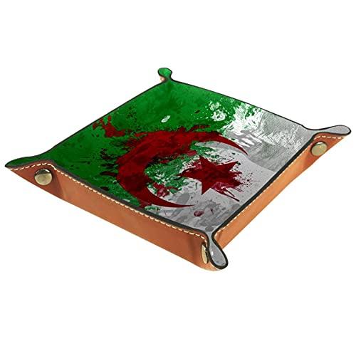 Valet Tray Leder Organizer Algerien Flagge Hintergr& Druck Controller Schlüssel Uhren Münzen Schmuck Aufbewahrungsbox für Nachttisch Kommode Schreibtisch Zuhause Küche Büro