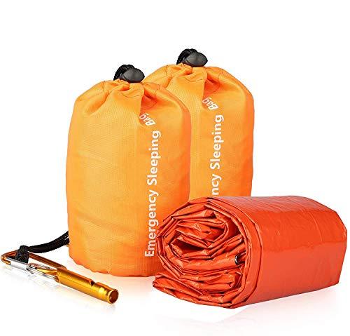 EEEKit 2 Pack Biwaksack with Überlebensausrüstung Pfeife, Wasserdichter Leichter Notfall-Schlafsack Thermo-Biwaksack Survival-Deckentaschen Tragbarer Nylonsack für Camping Wandern Outdoor-Aktivitäten