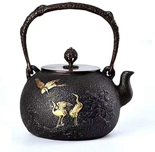 Tetera de hierro fundido estilo tetera de hierro fundido estilo tetera tetera de hierro fundido puro olla olla olla de grúa de 1,1 L Tetsubin taza de té